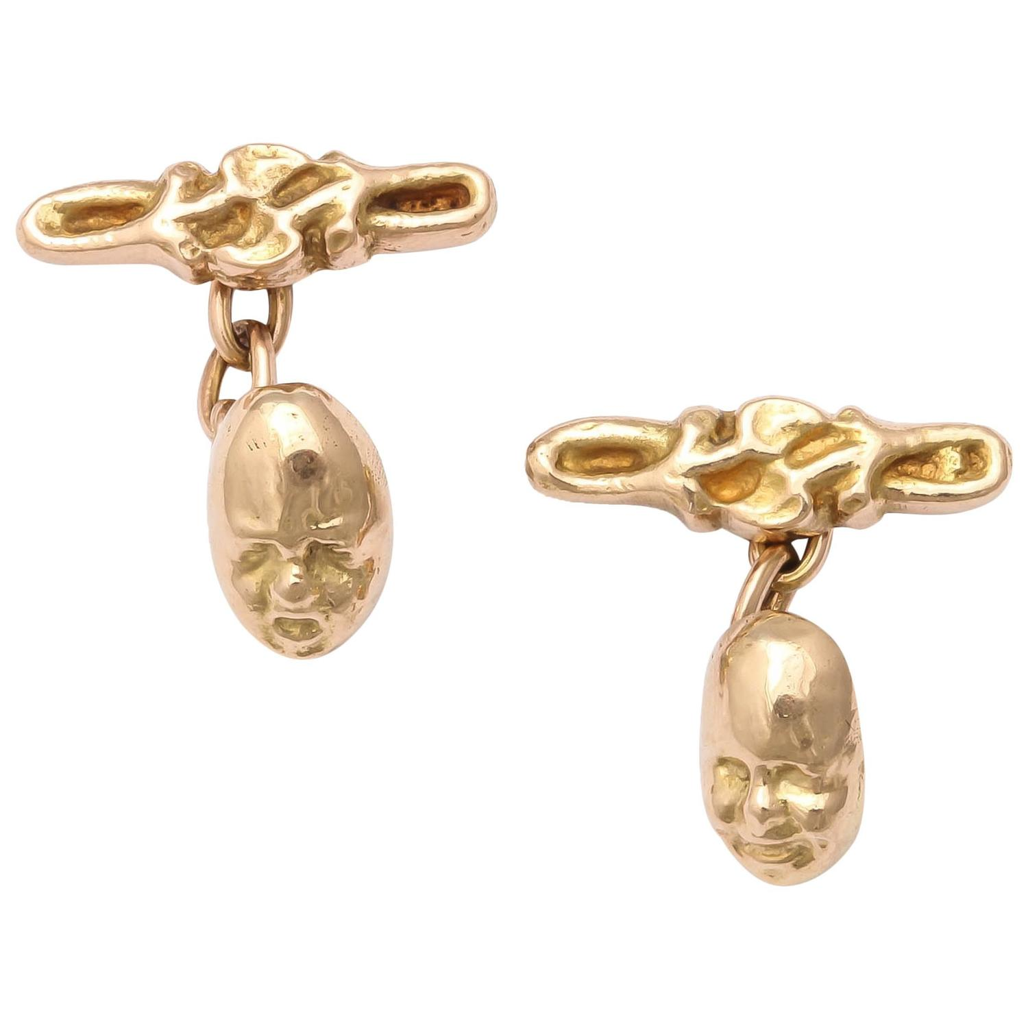 Gold Tragedy and Comedy Cufflinks, 19th century 1