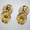 French Louis Feraud Diamond Gold Earrings