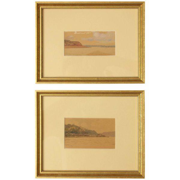 The River Volga: Two watercolor studies by Gritsenko