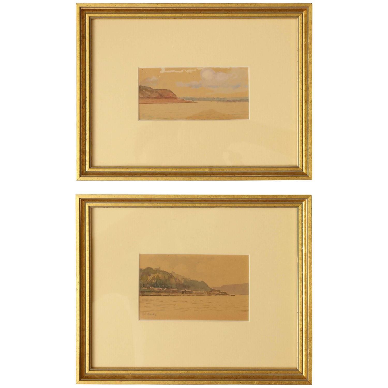 The River Volga: Two watercolor studies by Gritsenko 1