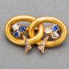 Vladimir Soloviev Russian Sapphire Diamond Gold Pin, circa 1900