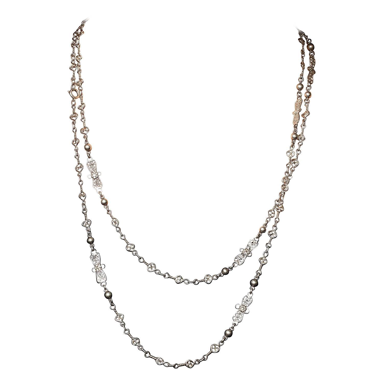 1900 Silver Filigree Necklace 1