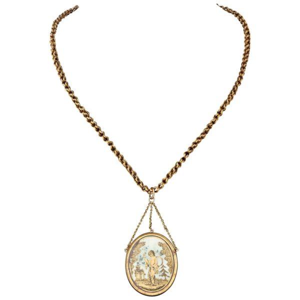 French Gold Napoleonic Era Pendant, circa 1810