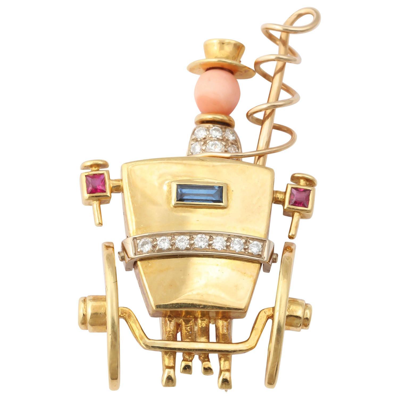 Sapphire Ruby Diamond Gold Stagecoach Pin 1
