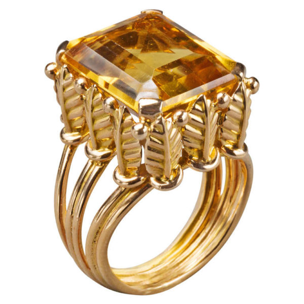 French Citrine Gold Ring, 20th century