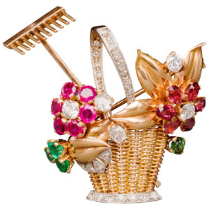 Jewelled Two-Color Gold Gardening Flower Basket Pin, 1940s