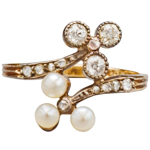 English Pearl and Diamond Ring