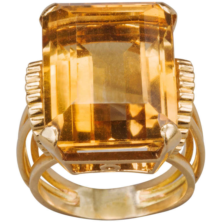 English Citrine Gold Ring 1