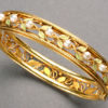 Arts & Crafts Enamel Pearl Gold Bangle Bracelet