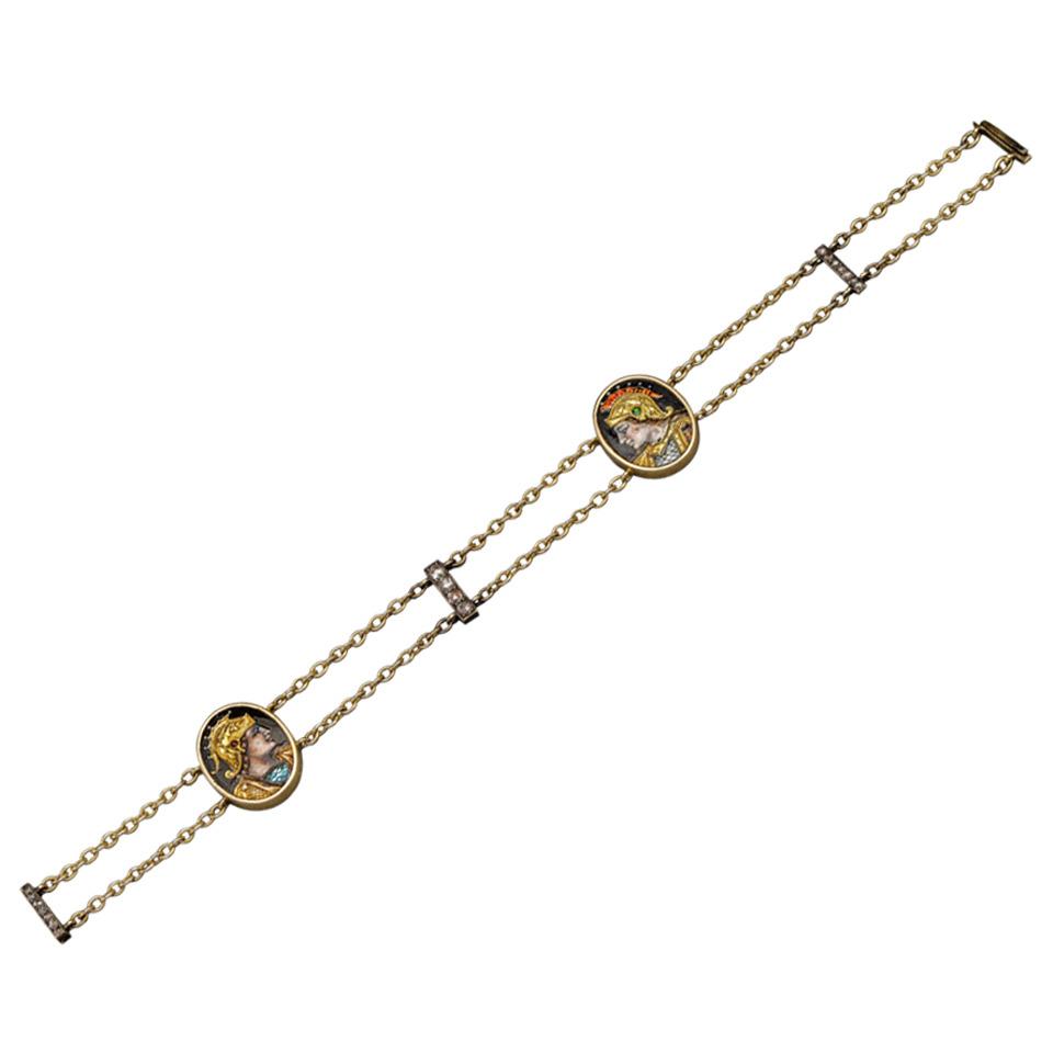19th Century Enamel Diamond Gold Bracelet 1