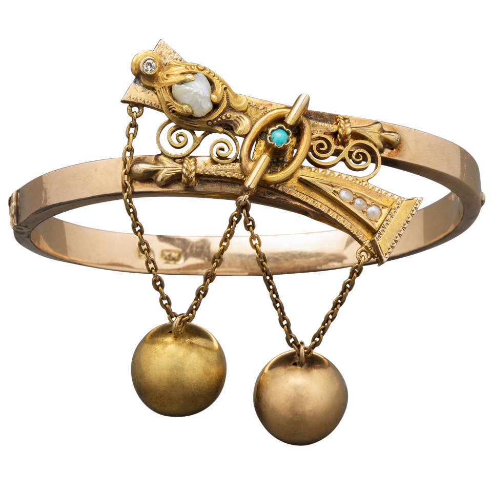 Russian Two-Color Gold Pearl Bracelet by Mikhailov, circa 1870 1