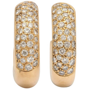 20th Century French Diamond Gold Hoop Earrings