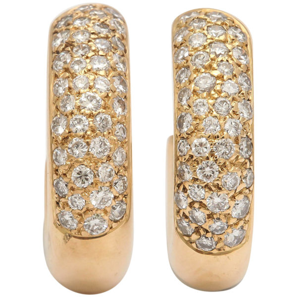 20th Century French Diamond Gold Hoop Earrings