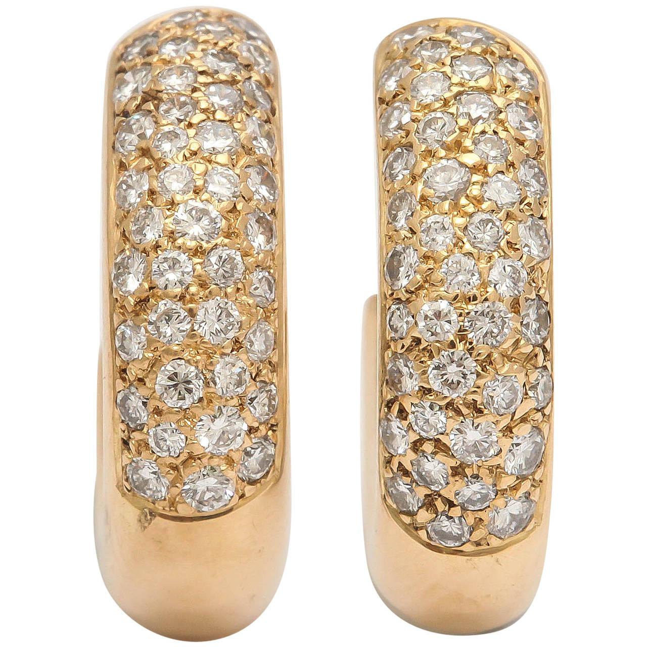 20th Century French Diamond Gold Hoop Earrings 1