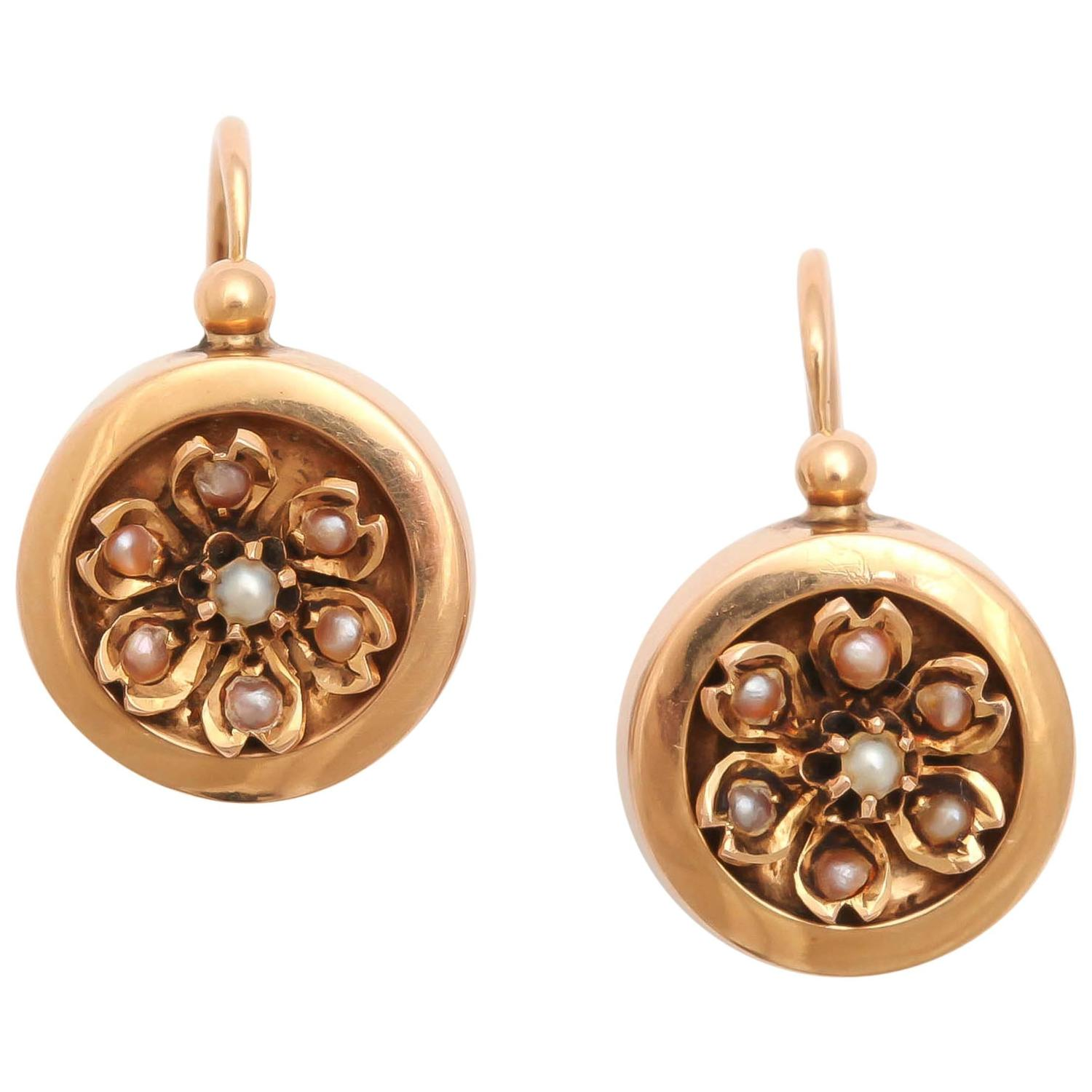 19th Century French Gold and Pearl Earrings 1