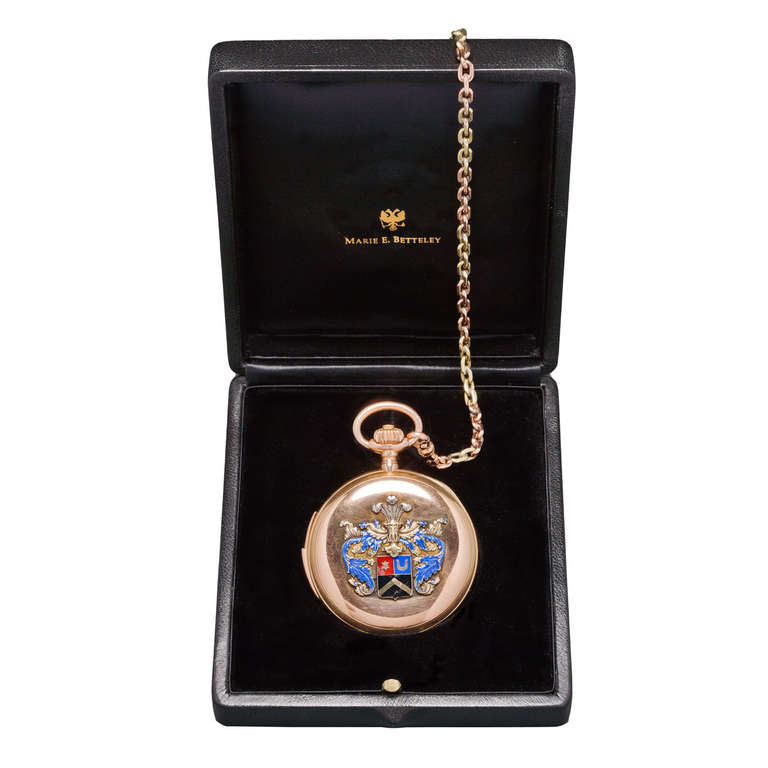 The KUTEPOV Gold Enameled Pocket Watch by Pavel BUHRE, circa 1900 1