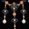 French Enamelled Pearl Diamond Gold Byzantine Style Necklace