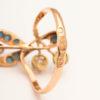 Russian Art Nouveau Gem Set Gold Floral Ring