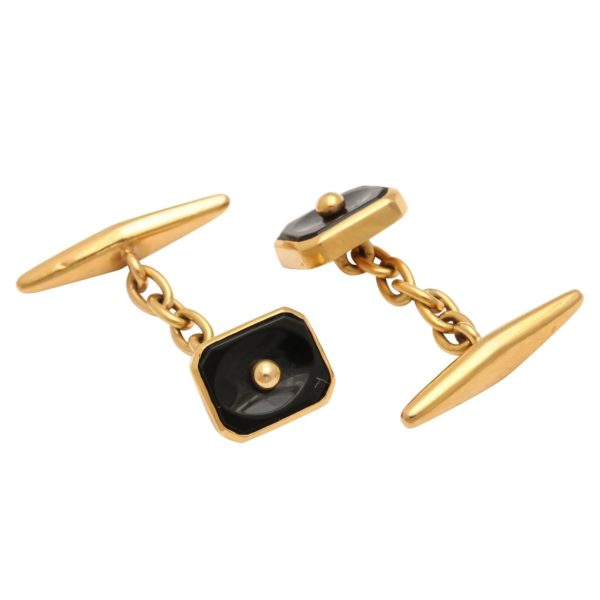 Pair of Portuguese Onyx Gold Cufflinks