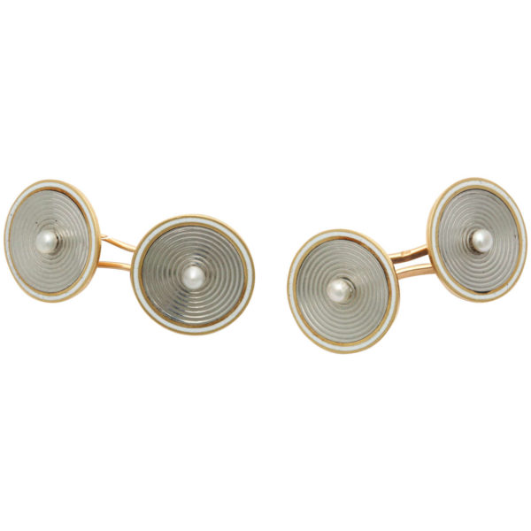 French Pearl Two Color Gold Cufflinks
