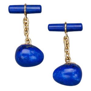 Vintage Cufflinks - Lapis Lazuli Gold Cufflinks by Marie E. Betteley