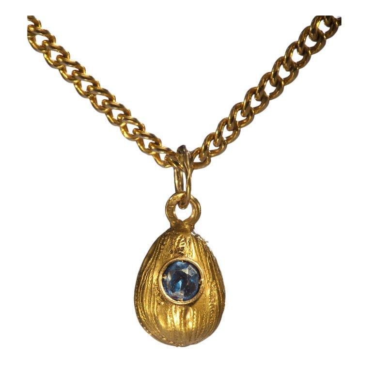 Small Russian Sapphire Gold Easter Egg Pendant, Circa 1900 1