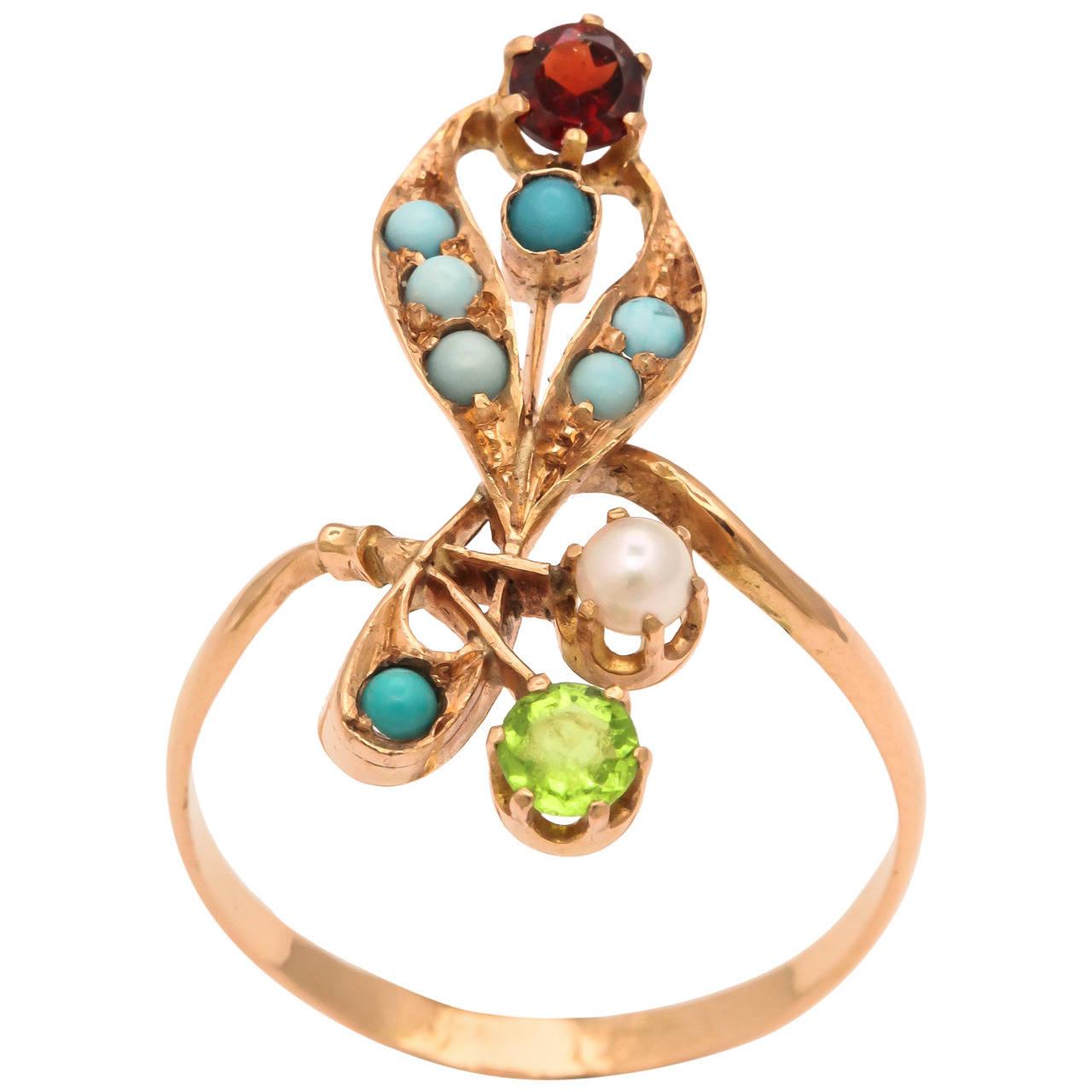 Russian Art Nouveau Gem Set Gold Floral Ring 1