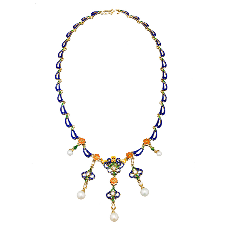 French Enamelled Pearl Diamond Gold Byzantine Style Necklace 1