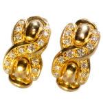 French Designer Louis Feraud Diamond 18k Gold Earrings, Paris, Signed