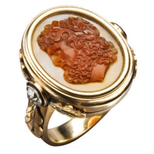 Large Gold and Carved Cameo Zeus Ring, circa 1870