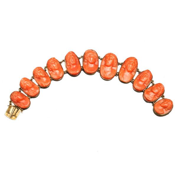 Carved Coral Link Bracelet, 19th Century