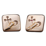 Large 1880s Russian Gold Ruby Diamond Trefoil Cufflinks, Moscow
