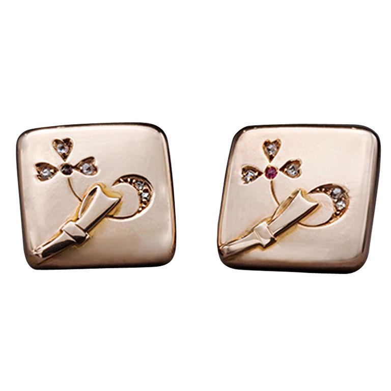 Russian Gold & Diamond Cufflinks, 1880s 1
