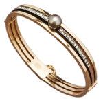 1880s French Diamond 18k Rose Gold Bangle Bracelet