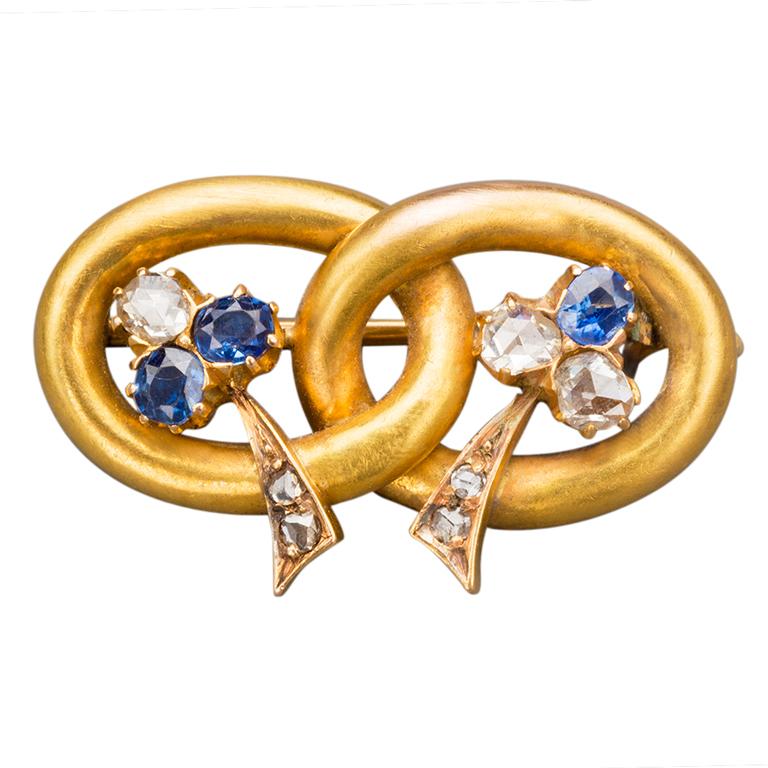 Vladimir Soloviev Russian Sapphire Diamond Gold Pin, circa 1900 1
