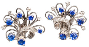 Sapphire Diamond Platinum Floral Spray Earrings