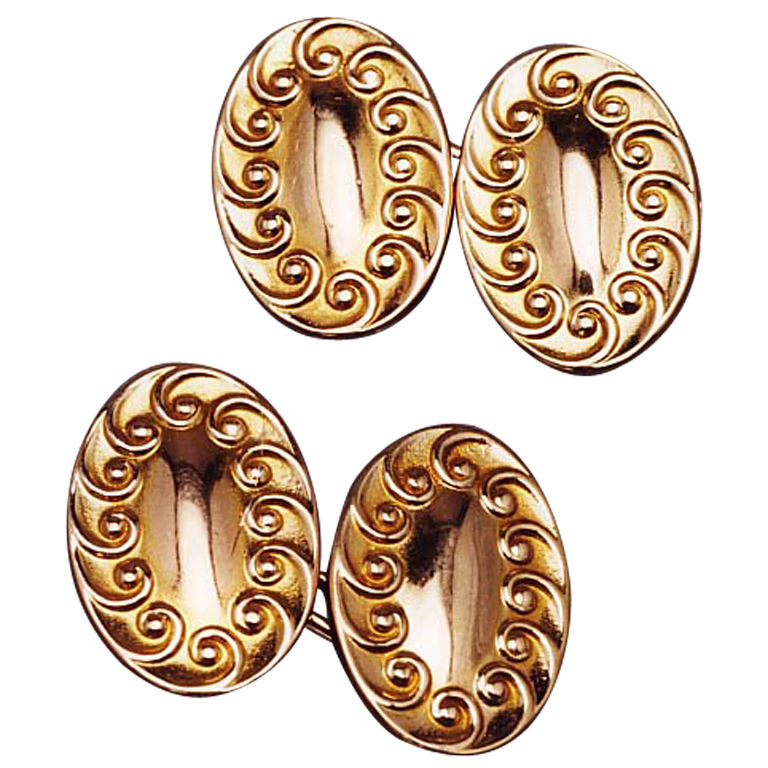 1920s Art Nouveau Double-Sided Gold Cufflinks 1
