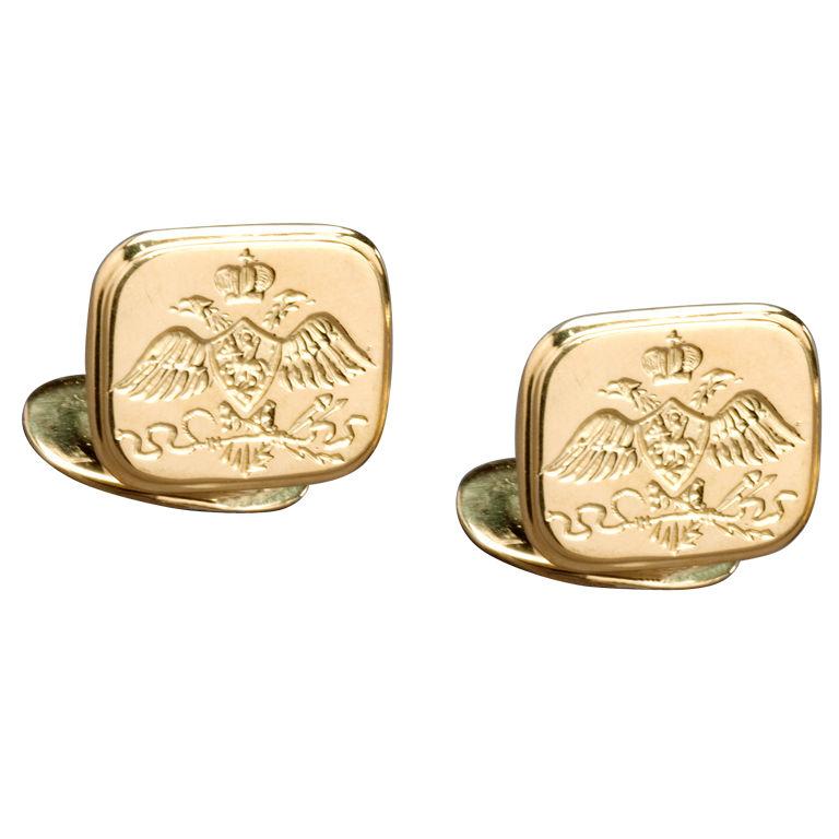 Nicholas I Romanov Eagle Gold Cufflinks by Marie E