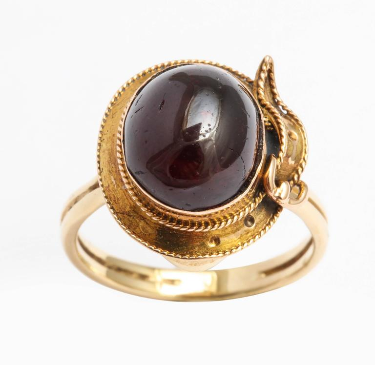 English Cabochon Garnet Gold Buckle Ring, circa1880 6 – Copy