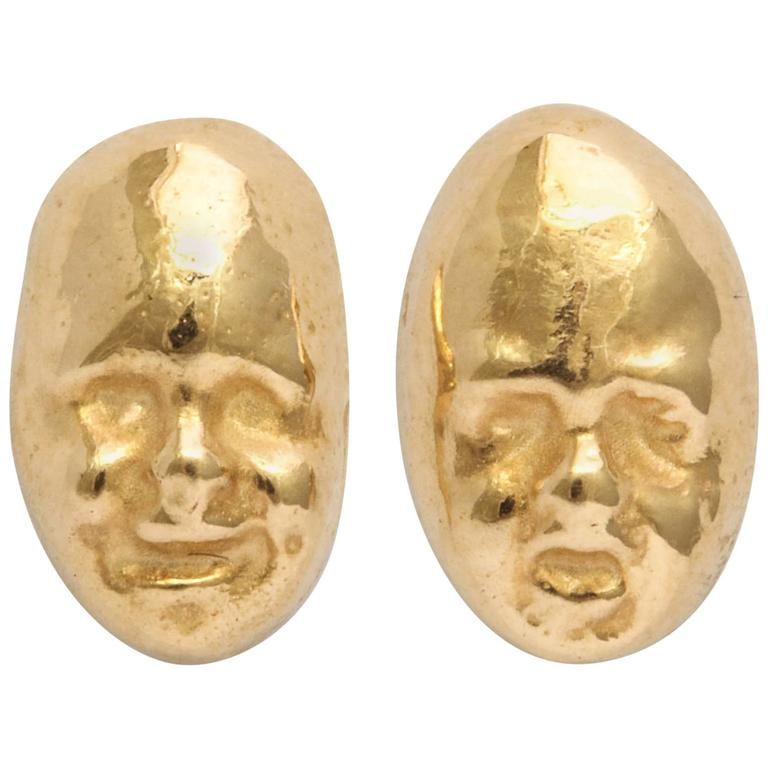 Gold Theatrical Mask Earings
