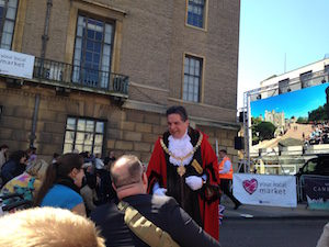 Cambridge mayor, Councillor George Pippas, appeared in full regalia greeting his people