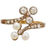 English Pearl and Diamond Ring, circa 1890