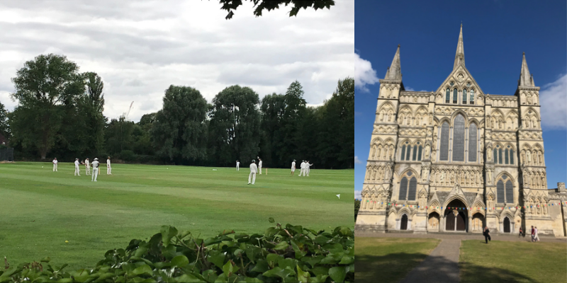 Cricket at Churchill College and Salisbury Cathedral